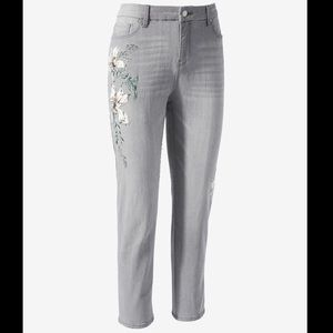Chico's Painted Floral Girlfriend Ankle Jeans